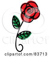 Royalty Free RF Clipart Illustration Of A Single Red Rose Sketch