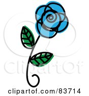 Royalty Free RF Clipart Illustration Of A Single Blue Rose Sketch by Rosie Piter