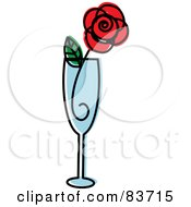Royalty Free RF Clipart Illustration Of A Red Rose In A Champagne Flute