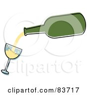 Green Bottle Pouring White Wine Into A Tilted Glass