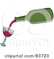 Green Bottle Pouring Red Wine Into A Tilted Glass