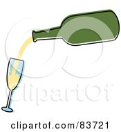 Royalty Free RF Clipart Illustration Of A Green Bottle Pouring Champagne Into A Tilted Glass