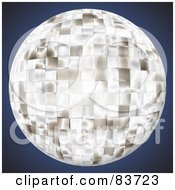 Royalty Free RF Clipart Illustration Of A Bright Chrome Disco Ball On Blue