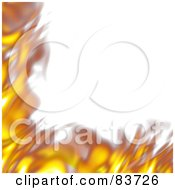 Royalty Free RF Clipart Illustration Of A Corner Border Of Blurred Flames Over White