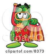 Dollar Bill Mascot Cartoon Character In Orange And Red Snorkel Gear by Toons4Biz