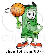 Dollar Bill Mascot Cartoon Character Spinning A Basketball On His Finger by Toons4Biz