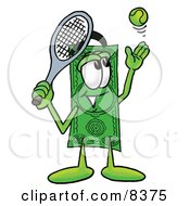 Dollar Bill Mascot Cartoon Character Preparing To Hit A Tennis Ball by Toons4Biz