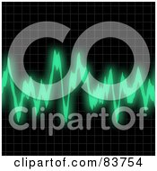 Royalty Free RF Clipart Illustration Of A Green Audio Wave Over Black