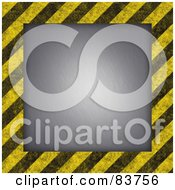 Royalty Free RF Clipart Illustration Of A Gray Box Bordered By Grungy Black And Yellow Hazard Stripes