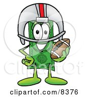 Clipart Picture Of A Dollar Bill Mascot Cartoon Character In A Helmet Holding A Football