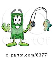 Clipart Picture Of A Dollar Bill Mascot Cartoon Character Holding A Fish On A Fishing Pole by Toons4Biz