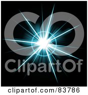 Royalty Free RF Clipart Illustration Of A Blue Star Burst On Black