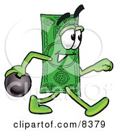 Clipart Picture Of A Dollar Bill Mascot Cartoon Character Holding A Bowling Ball