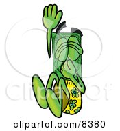 Clipart Picture Of A Dollar Bill Mascot Cartoon Character Plugging His Nose While Jumping Into Water
