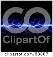 Royalty Free RF Clipart Illustration Of A Vertical Blue Lightning Bolt Striking On Black by Arena Creative