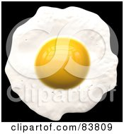 Royalty Free RF Clipart Illustration Of Fried Egg Cooking Sunny Side Up On Black