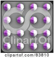 Royalty Free RF Clipart Illustration Of A Blister Package Of Purple And White Pills