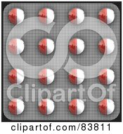 Royalty Free RF Clipart Illustration Of A Blister Package Of Red And White Pills