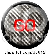 Royalty Free RF Clipart Illustration Of A Go Carbon Fiber Internet Button On White by Arena Creative