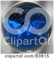 Royalty Free RF Clipart Illustration Of A Blue Radar Atlas Screen On Chrome