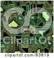 Royalty Free RF Clipart Illustration Of A Background Of Green Techno Circuitry