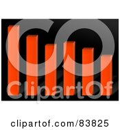 Royalty Free RF Clipart Illustration Of An Orange 3d Bar Graph Over Black by Arena Creative