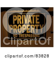 Royalty Free RF Clipart Illustration Of A Black And Orange Posted Private Property Sign