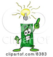 Clipart Picture Of A Dollar Bill Mascot Cartoon Character With A Bright Idea by Toons4Biz