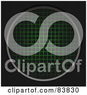 Royalty Free RF Clipart Illustration Of A Round Green Radar Grid On Black
