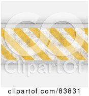 Royalty Free RF Clipart Illustration Of A Bar Of Yellow And White Hazard Stripes With Shaded White Borders