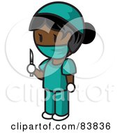 Royalty Free RF Clipart Illustration Of An Indian Mini Person Surgeon Woman In Scrubs Holding A Scalpel by Rosie Piter
