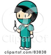 Royalty Free RF Clipart Illustration Of An Asian Mini Person Surgeon Man In Scrubs Holding A Scalpel by Rosie Piter