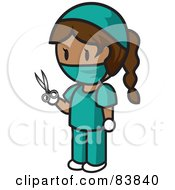 Royalty Free RF Clipart Illustration Of A Brunette Hispanic Mini Person Surgeon Woman In Scrubs Holding Scissors