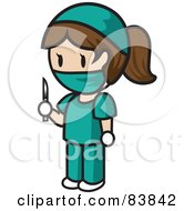 Brunette Caucasian Mini Person Surgeon Woman In Scrubs Holding A Scalpel
