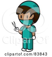 Royalty Free RF Clipart Illustration Of A Mini Person Surgeon Woman In Scrubs Holding Scissors