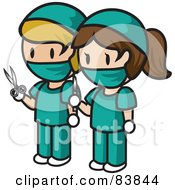 Caucasian Mini Person Surgeon Man And Woman In Scrubs Holding Scissors And A Scalpel