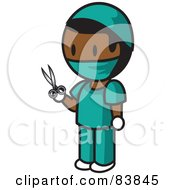 Indian Mini Person Surgeon Man In Scrubs Holding Scissors