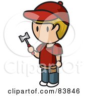 Blond Caucasian Mini Person Man Holding A Hammer