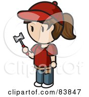 Royalty Free RF Clipart Illustration Of A Brunette Caucasian Mini Person Woman Holding A Hammer