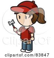 Brunette Caucasian Mini Person Woman Holding A Hammer