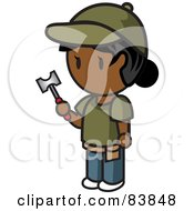 Royalty Free RF Clipart Illustration Of An Indian Mini Person Woman Holding A Hammer by Rosie Piter