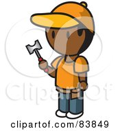 Royalty Free RF Clipart Illustration Of An Indian Mini Person Man Holding A Hammer