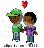 Royalty Free RF Clipart Illustration Of A Gay Indian Mini Person Couple Holding Hands Under A Heart by Rosie Piter
