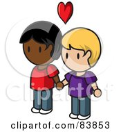 Royalty Free RF Clipart Illustration Of A Gay Caucasian And Indian Mini Person Couple Holding Hands Under A Heart by Rosie Piter