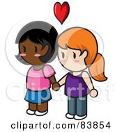 Royalty Free RF Clipart Illustration Of A Lesbian Caucasian And Indian Mini Person Couple Holding Hands Under A Heart by Rosie Piter