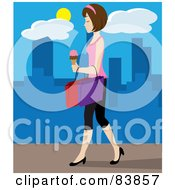 Caucasian Woman Walking On A City Sidewalk Carrying Ice Cream And Shopping Bags