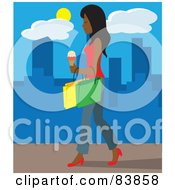 Royalty Free RF Clipart Illustration Of An Indian Woman Walking On A City Sidewalk Carrying Ice Cream And Shopping Bags by Rosie Piter