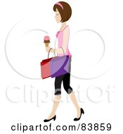 Royalty Free RF Clipart Illustration Of A Brunette Caucasian Woman Carrying An Ice Cream Cone And Shopping Bags by Rosie Piter