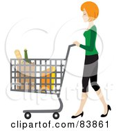 Royalty Free RF Clipart Illustration Of A Blond Caucasian Woman Pushing Bagged Groceries In A Shopping Cart by Rosie Piter