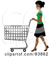 Royalty Free RF Clipart Illustration Of An Indian Woman Pushing An Empty Shopping Cart In A Store